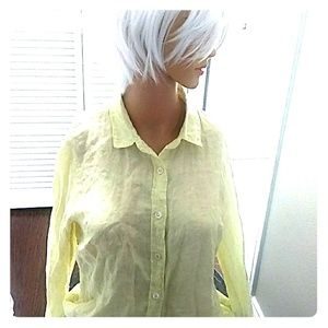 J.crew Linen Yellow Blouse 6